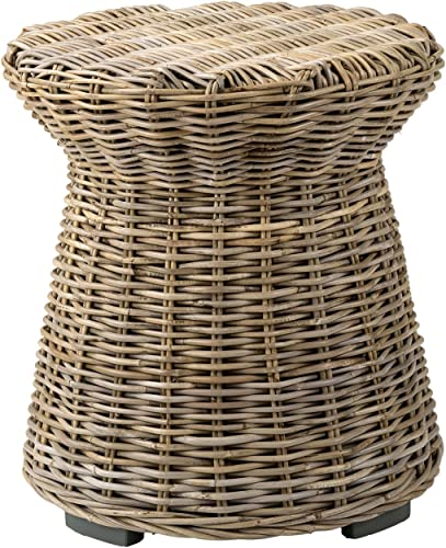 EAST at MAIN Aikman Brown Round Rattan Accent End Table