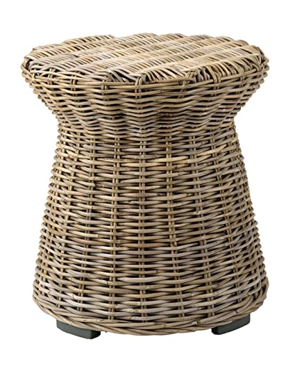 Attirant East At Main Aikman Brown Round Rattan Accent End Table, (20x20x22)