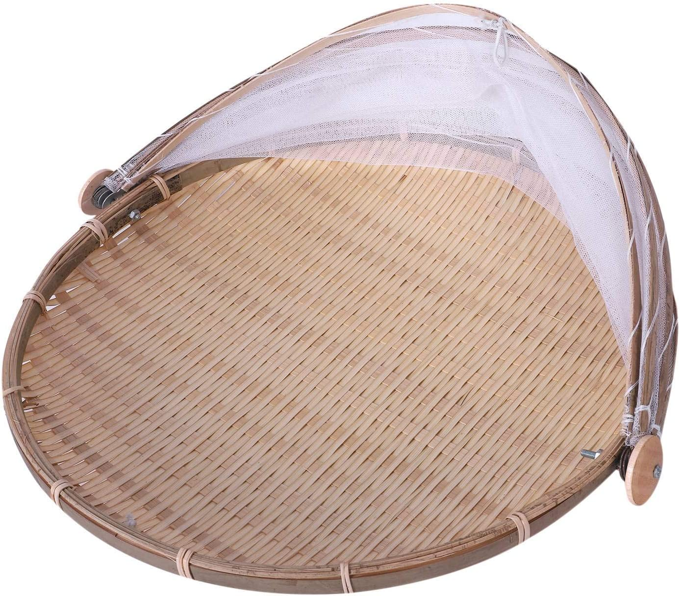 ACAMPTAR Handmade Bamboo Woven Bug Proof Wicker Basket Antipasto Picnic Vassoio di Frutta Cibo Pane Piatti Copertura con Garza Panier Osier