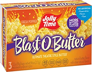 product image for JOLLY TIME Blast O Butter | Ultimate Movie Theater Style Microwave Popcorn with Extra Buttery Flavor, Palm Oil, Salt and Non-GMO Kernels (3-Count Boxes, Pack of 6)