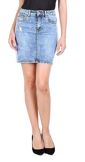 Toxik Mini Falda Vaquera para Mujeres Falda Corta en Jeans Denim ...
