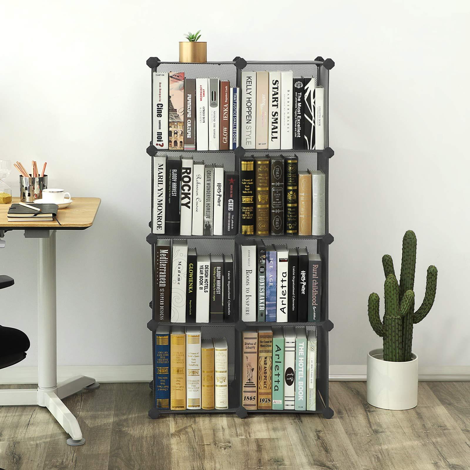 SONGMICS 9-Cube Metal Mesh Storage Cube, Book Shelf, Modular Bookcase, DIY Closet Cabinet Organizer for Books, Plants, Toys, Shoes, Clothes 36.6''L x 12.2''W x 48.4''H, Gray ULPL115G by SONGMICS (Image #3)