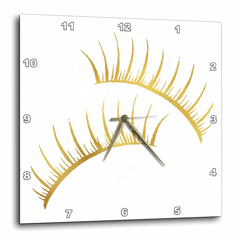 3dRose ImageグリットグラムGirlyアイラッシュウォールクロック、13x13、ゴールド   B079VWFWSN