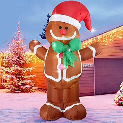 fanshunlite christmas xmas inflatable 8 ft gingerbread manlighted blow up yard party decoration