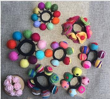 Amazon.com   Wool Felt Ball Hair Tie Bands Ropes Ponytail Holder For  Girls Women (6pc(Multi Ball))   Beauty ce9d7618b83