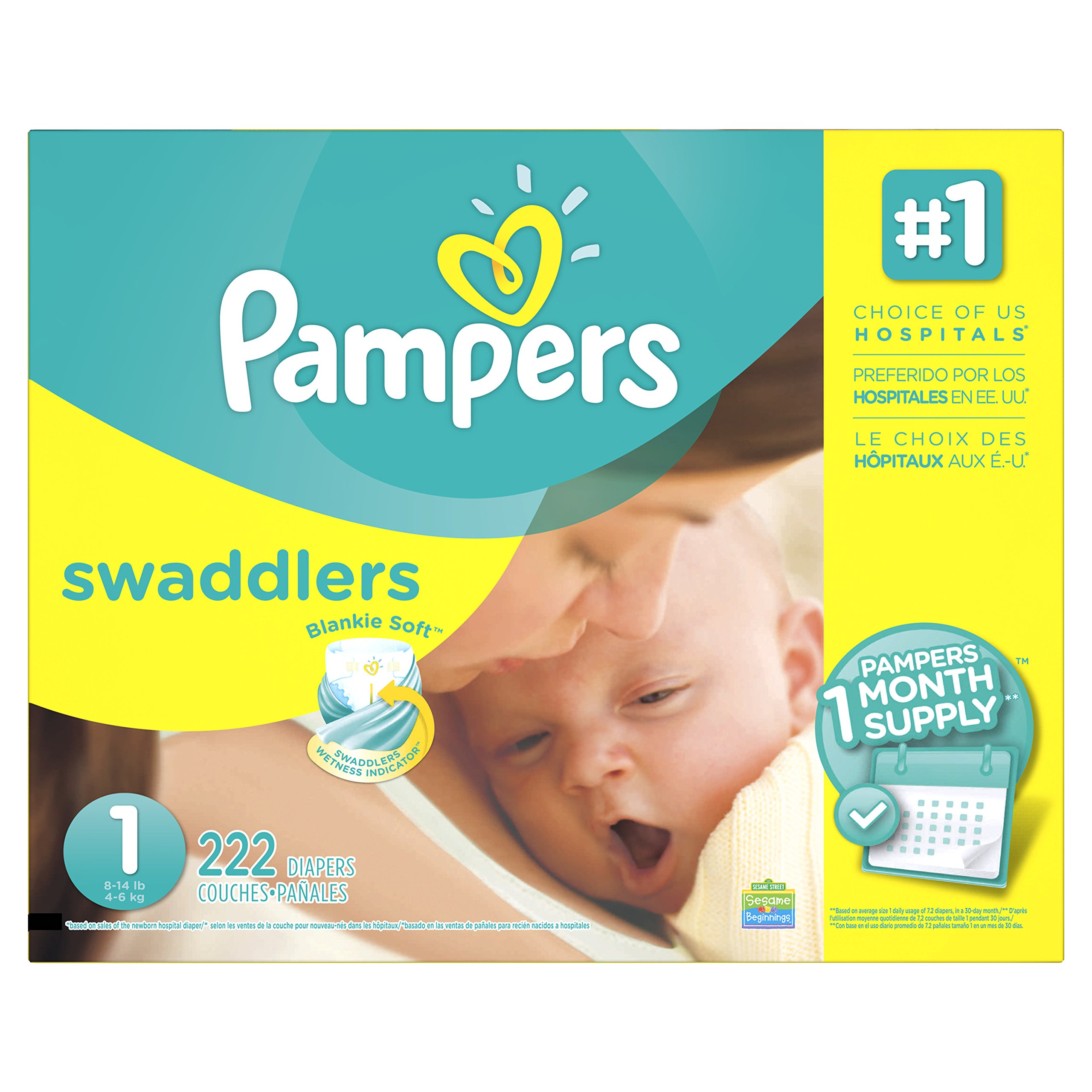 Pampers Swaddlers Disposable Diapers Newborn Size 1 (8-14 lb), 222 Count, ONE MONTH SUPPLY