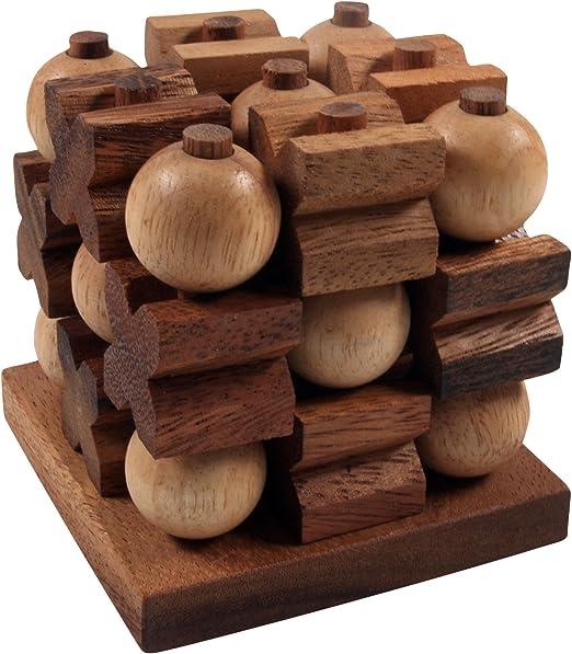 Guru-Shop Tic-Tac-Toe 3D, Juguetes de Madera, 8x8x8 cm, Knobel ...