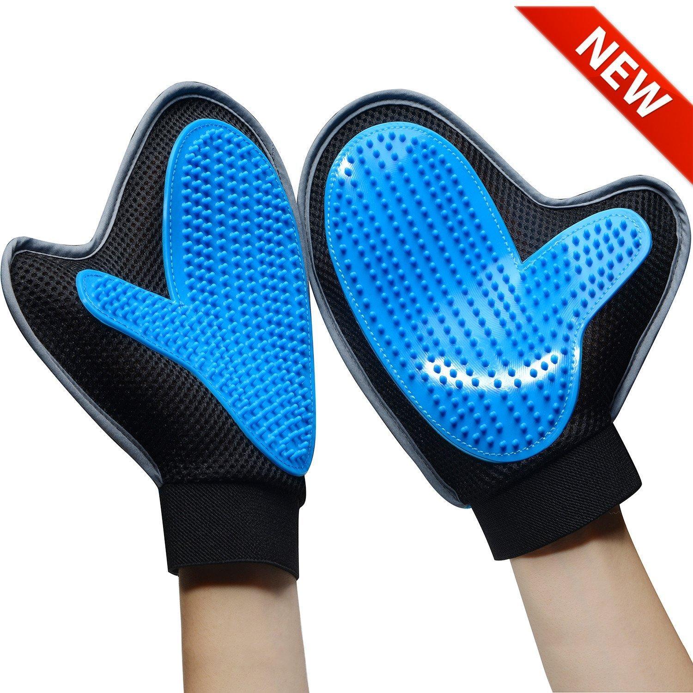 Bonve Pet Dog Grooming Glove - Efficient Pet Deshedding Brush Glove Best Hair Remover for Long Short Hair Dogs Cats blue ...