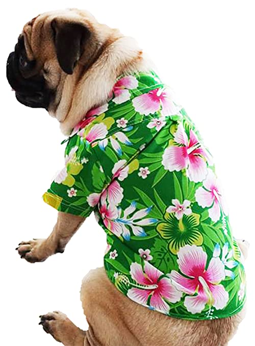 eb6dc160 Amazon.com : Casual Hawaiian Beach Red Floral Dog Shirt Cloth For Cat Dog  Puppy Pet (12) : Pet Supplies