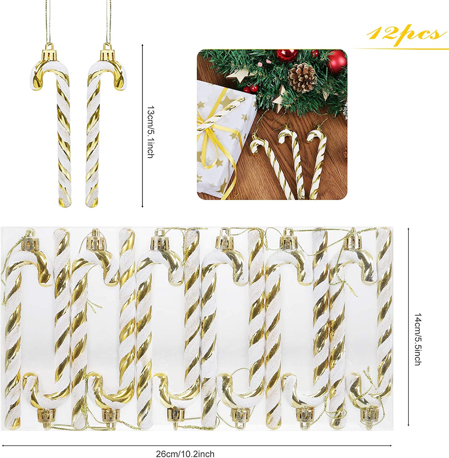 Gold /& Silver GWHOLE 12 Pack of Christmas Glitter Candy Cane Christmas Tree Hanging Ornament Candy Cane Crutch Pendant for Christmas Tree Decorations