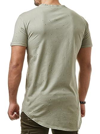 1ebbbf4d5a4f EightyFive Herren T-Shirt Long Oversized Destroyed Zerrissen Beige Khaki  EF2177, Größe S, Farbe Grün  Amazon.de  Bekleidung