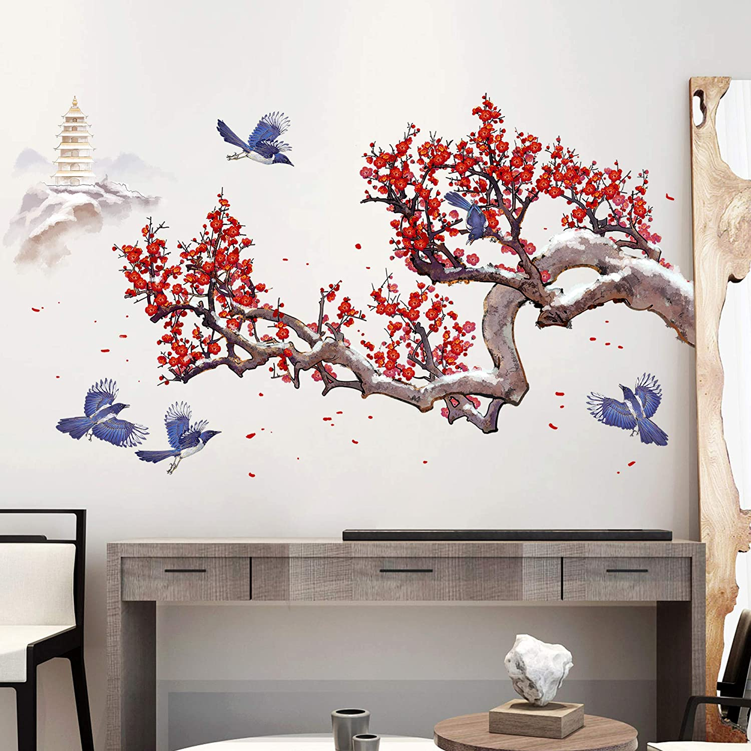 Amaonm Removable Giant Red Plum Blossom Black Tree Branches and Flying Birds Wall Decals 3D DIY Peel and Stick Home Decor Wall Sticker Wallpaper for Living Room Nursery Offices Kids Girls Bedroom Decoration