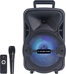 Sound Town 8-inch 2-Way Portable PA Speaker with Built-in Rechargeable Battery, 1 Wired Mic, Bluetooth, USB, SD Card Reader, LED Light (OPIK-8PS)
