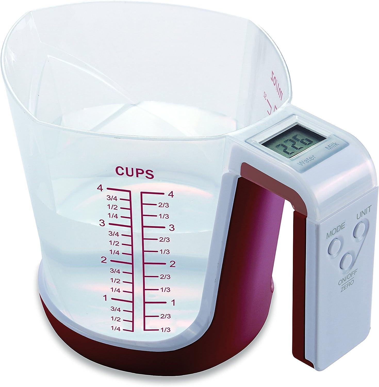 Ilsa 9750 Balanza de cocina JARRA digital, capacidad 3 kg, Granate