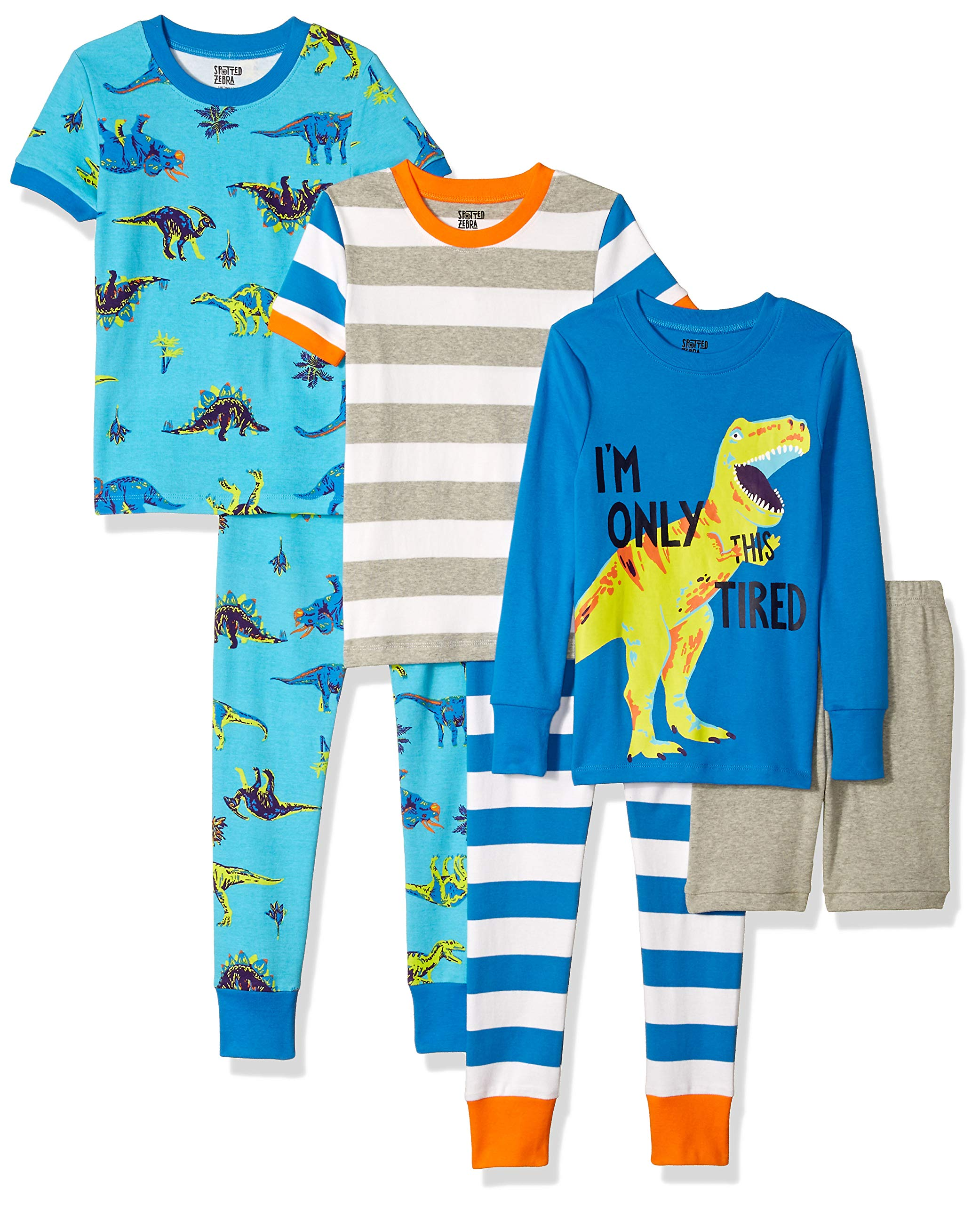 Spotted Zebra Little Kids' 6-Piece Snug-Fit Cotton Pajama Set, Dinoland, Small (6-7)