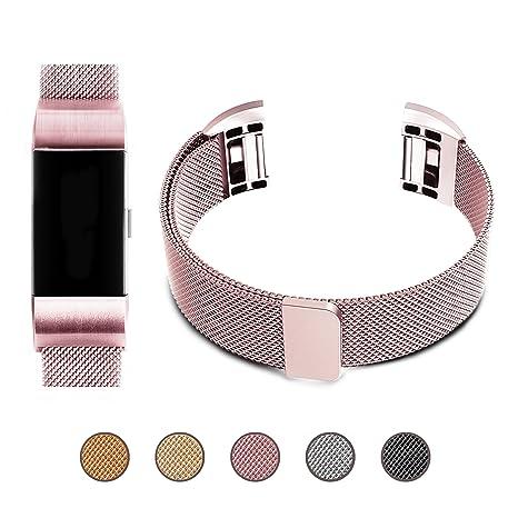 pour Fitbit Charge 2 Remplacement Bracelet, EUI Milanese Boucle en Acier Inoxydable Bande en Métal