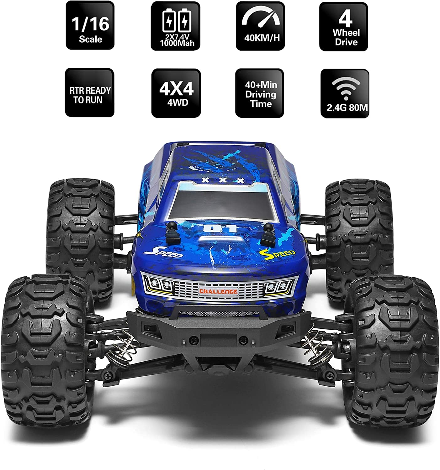 4x4 Remote Control Car for Adults and Kids 4WD All Terrain Off Road Truck 2 Rechargeable Batteries Ideal for Kids and Adults 1:16 Scale Electric Powered 42km High Speed MIEBELY Fast RC Cars