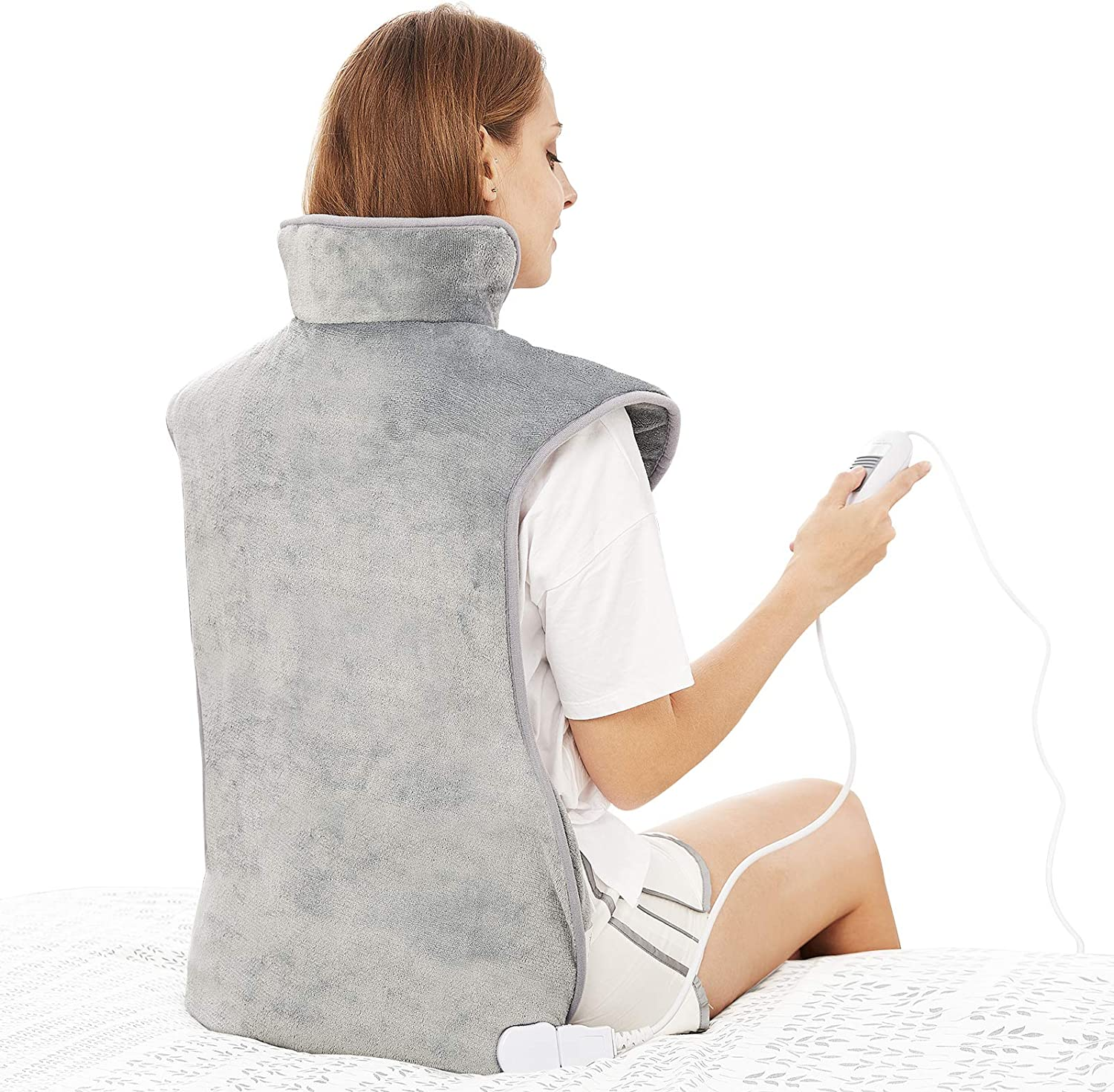 "Large Electric Heating Pad for Back Neck and Shoulders Pain Relief, 39""x23"" Fast-Heat Therapy Warp with Waist Strap, 3 Heat Levels, Auto-Off Timer, Mia&Coco - Comfort Grey"