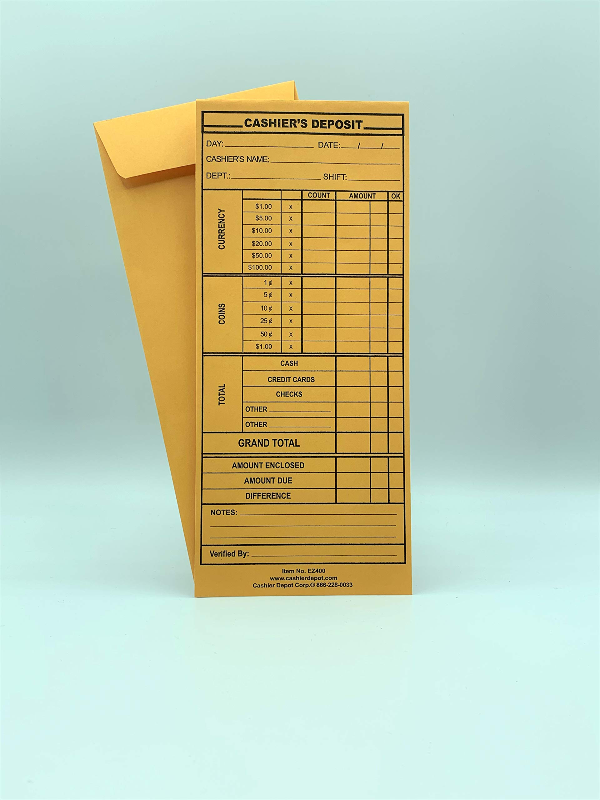 Cashier Depot EZ400 Cashier's Deposit Envelope, 4 1/8'' x 9 1/2'', Heavy 24 LB (500) by CASHIER DEPOT YOUR ONE STOP SHOP FOR ALL CASHIER'S NEEDS