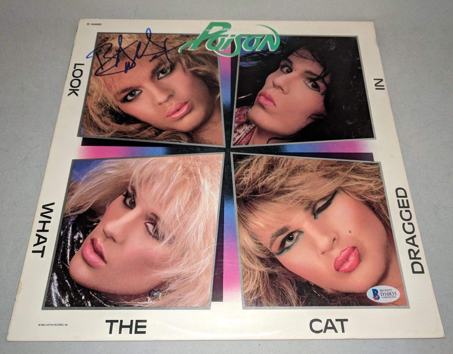Poison Bret Michaels Autographed Signed Look What The Cat Dragged In Lp Record Beckett Authentic