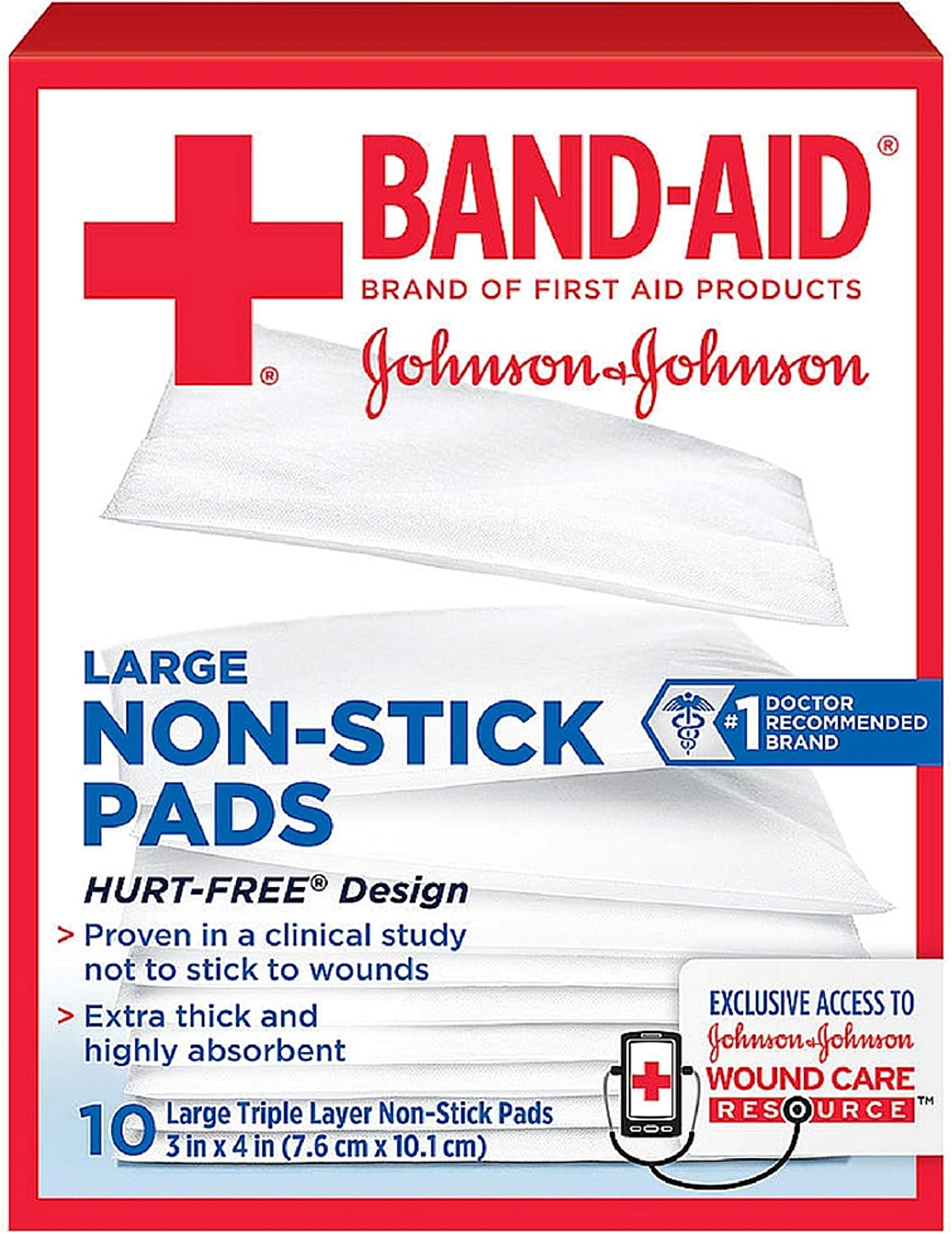 BAND-AID First Aid Non-Stick Pads, Large, 3 in x 4 in, 10 ea (Pack of 7) 81rlkt6LNLL