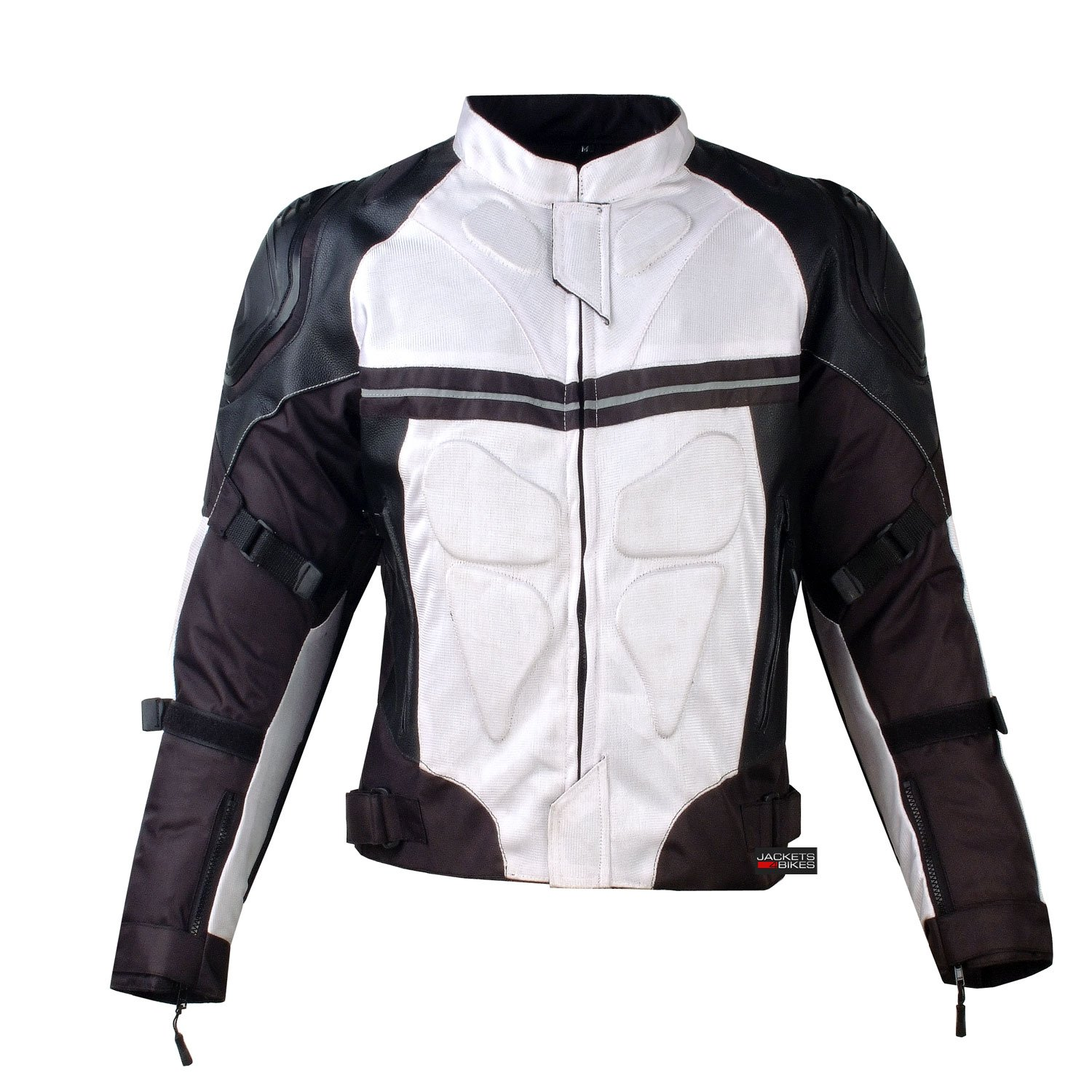 PRO LEATHER /& MESH MOTORCYCLE WATERPROOF JACKET WHITE WITH EXTERNAL ARMOR XXL