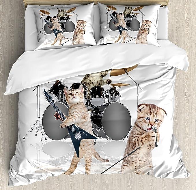 Animal Decor juego de funda nórdica por Ambesonne, Cool Fancy rígida cute Rocker banda de gatitos con cantante guitarrista gatos Print, decorativo juego de ...