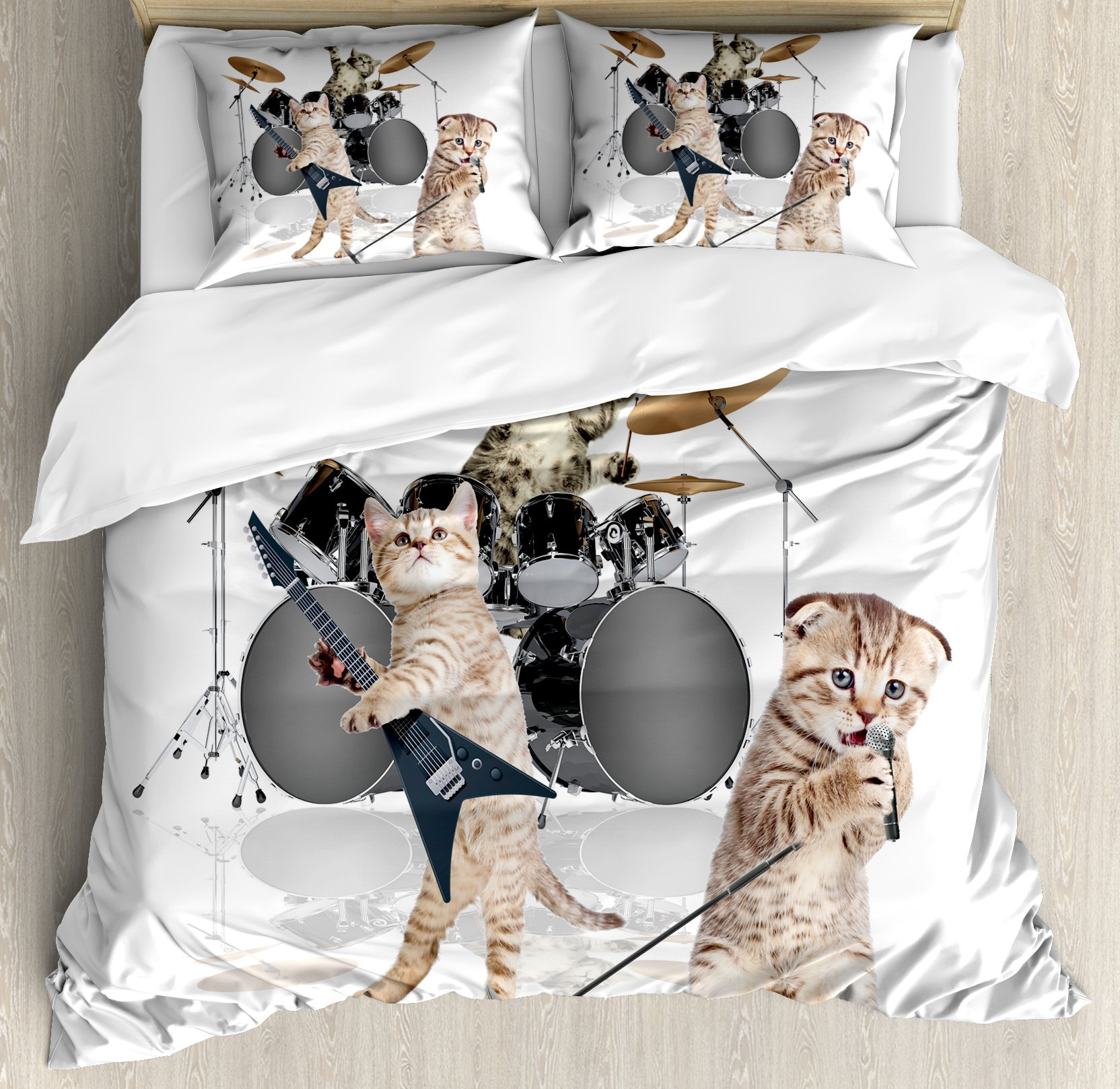 Ambesonne Animal Decor Duvet Cover Set, Cool Fancy Hard Cute Rocker Band of Kittens with Singer Guitarist Cats Print, 3 Piece Bedding Set with Pillow Shams, Queen/Full, Multicolor
