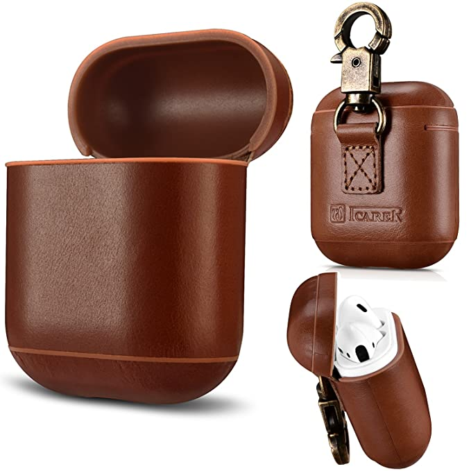 sale retailer 35a4b b8252 AirPods Case Genuine Leather Full Protective Shockproof Cover Portable with  Keychain for Apple AirPods Charging Case (Coffee)