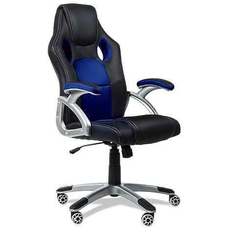 Mc Haus 9703A - Silla de oficina giratoria, 69 x 52 x 50 cm, tela, reposabrazos, con ruedas, altura ajustable, color azul