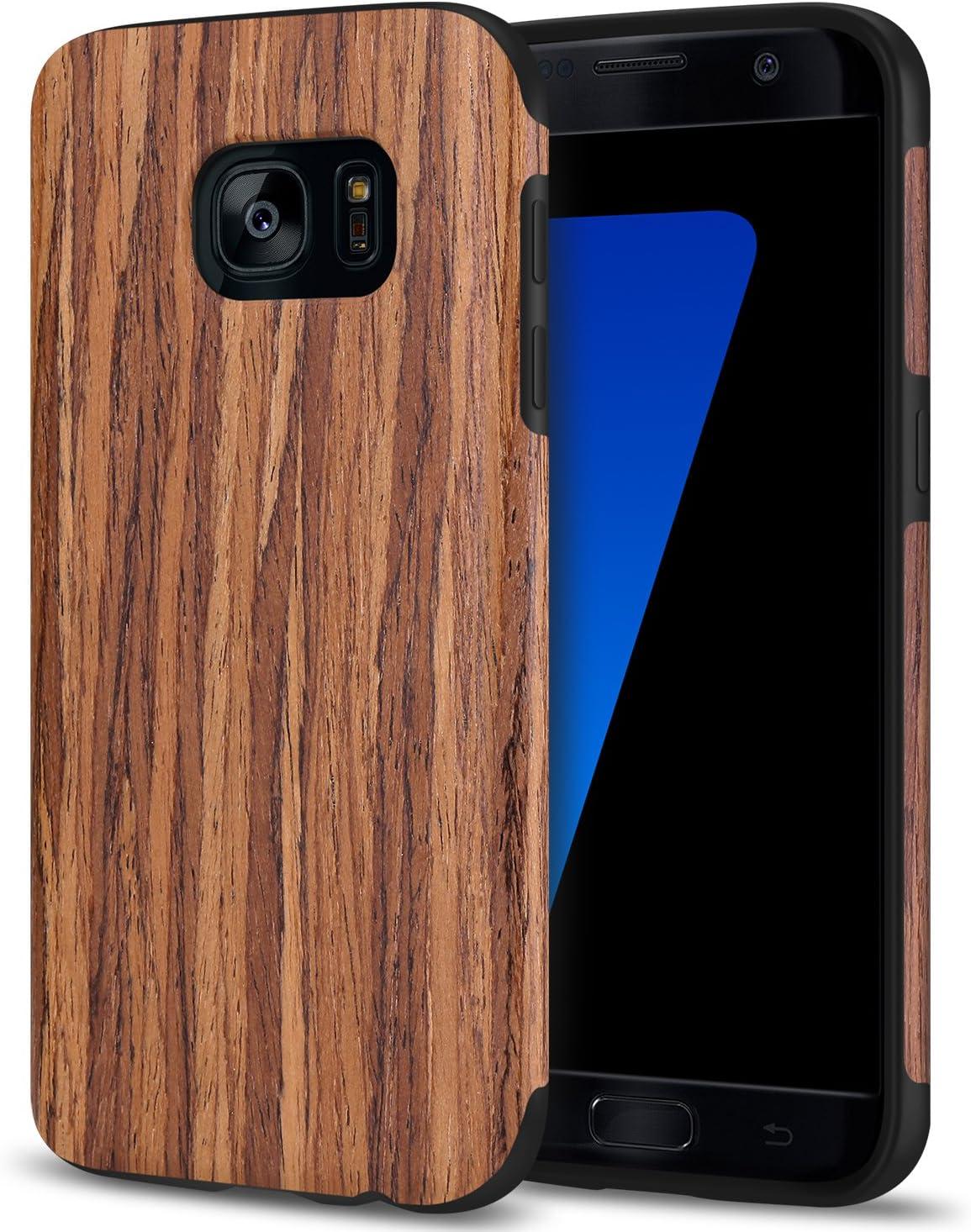 TENDLIN Galaxy S7 Case Wood Veneer Soft TPU Silicone Hybrid Slim Case for Samsung Galaxy S7 (Red Sandalwood)