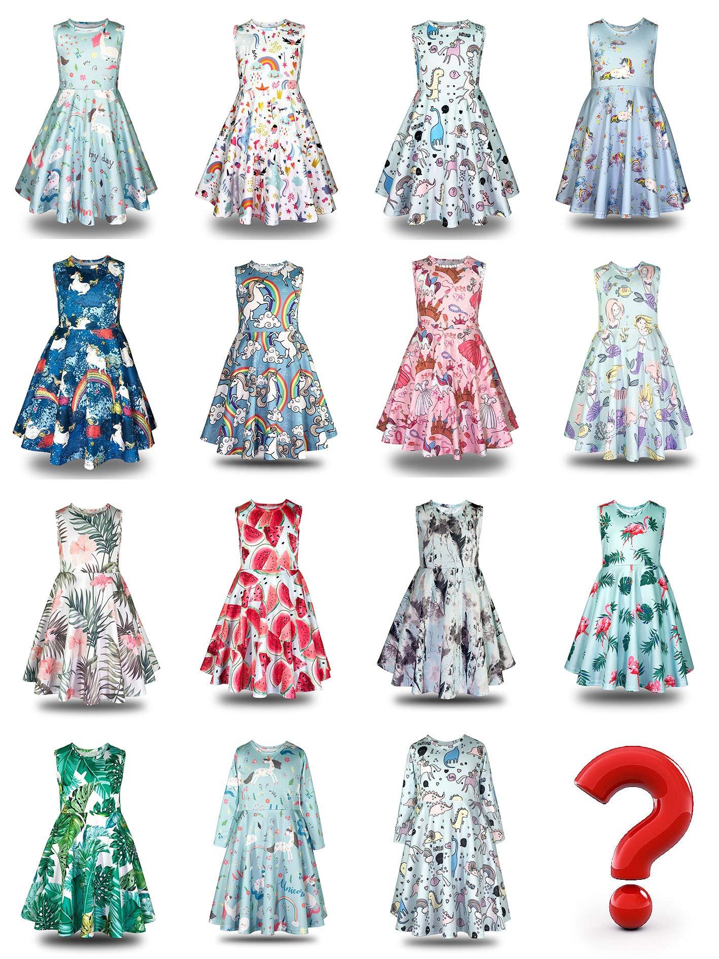 Minilove Gilrs Unicorn Rainbow Dress(6,Navy) by Minilove (Image #4)