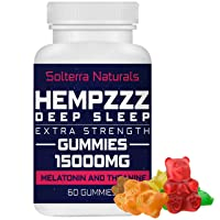 HempZZZ DEEP Sleep Extra Strength Gummies 15000 MG | with Melatonin and Theanine! Relaxation, Anxiety, Stress, Pain and Sleep Relief | Hemp Extract Gummy Bears