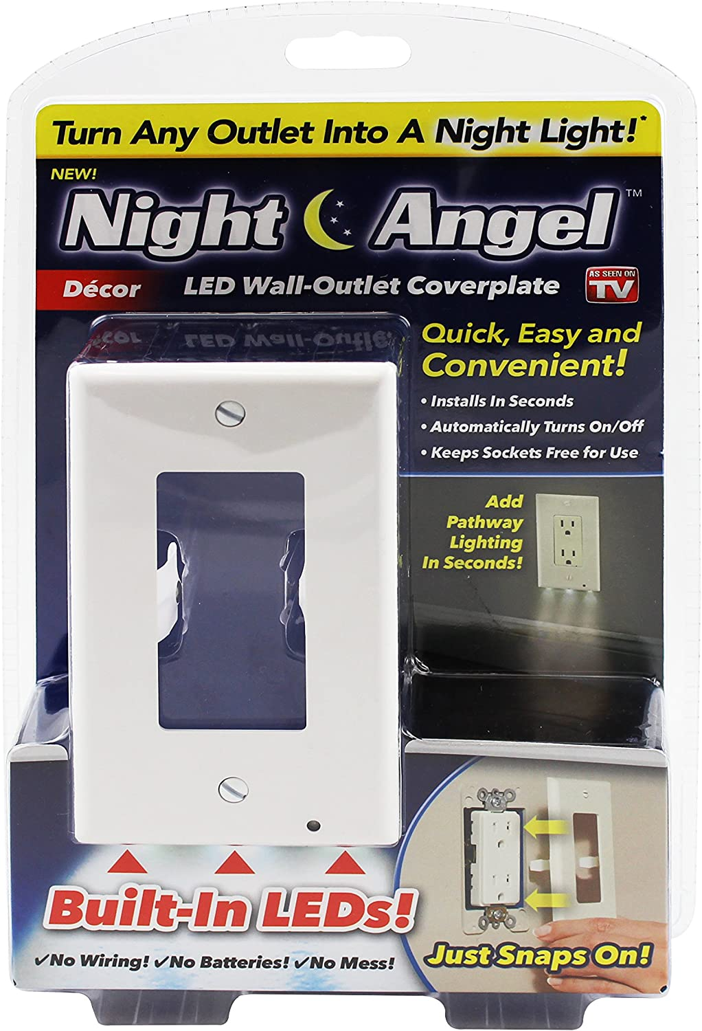 Night Angel Lighted Wall Outlet Coverplate With Automatic Light Sensor And Built In Led Guidelights For Square Outlets Decor Night Lights Amazon Canada