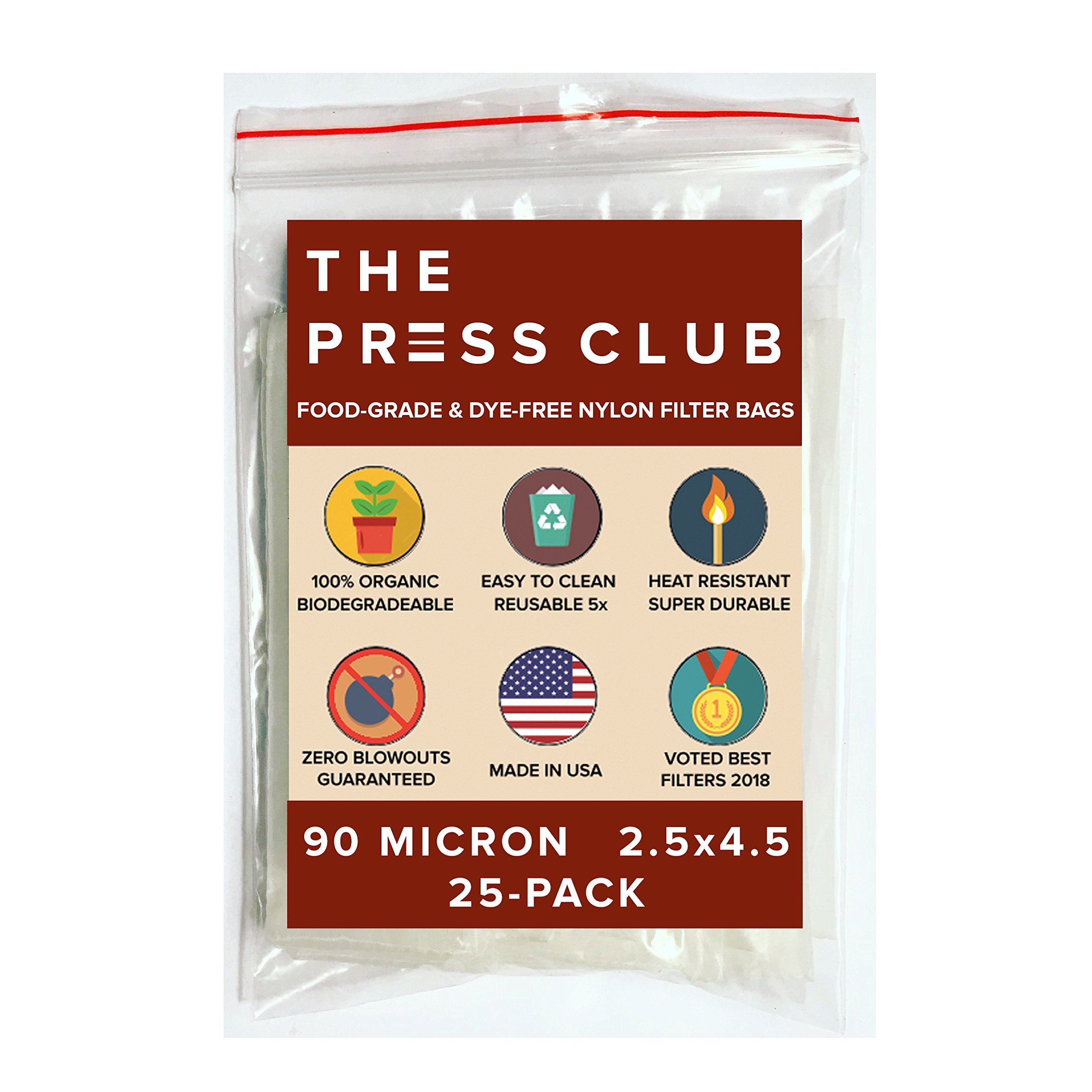 90 Micron | Premium Nylon Tea Filter Press Screen Bags | 2.5'' x 4.5'' | 25 Pack | Zero Blowout Guarantee | All Micron & Sizes Available