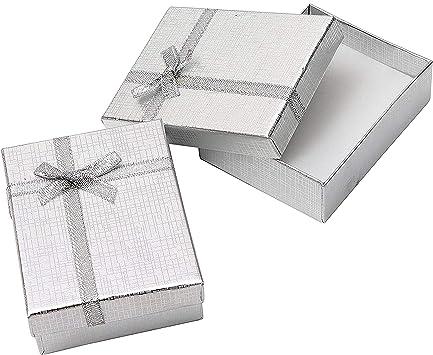 Cajas de Regalo Joyeria (Pack de 12) - (8,5x6,5x2,5cm) Cajas de Regalo con Inserto Espuma - Caja de Regalo de Presentación con Diseño de Lazo y Cinta para Collares y Pulseras (Plateado):