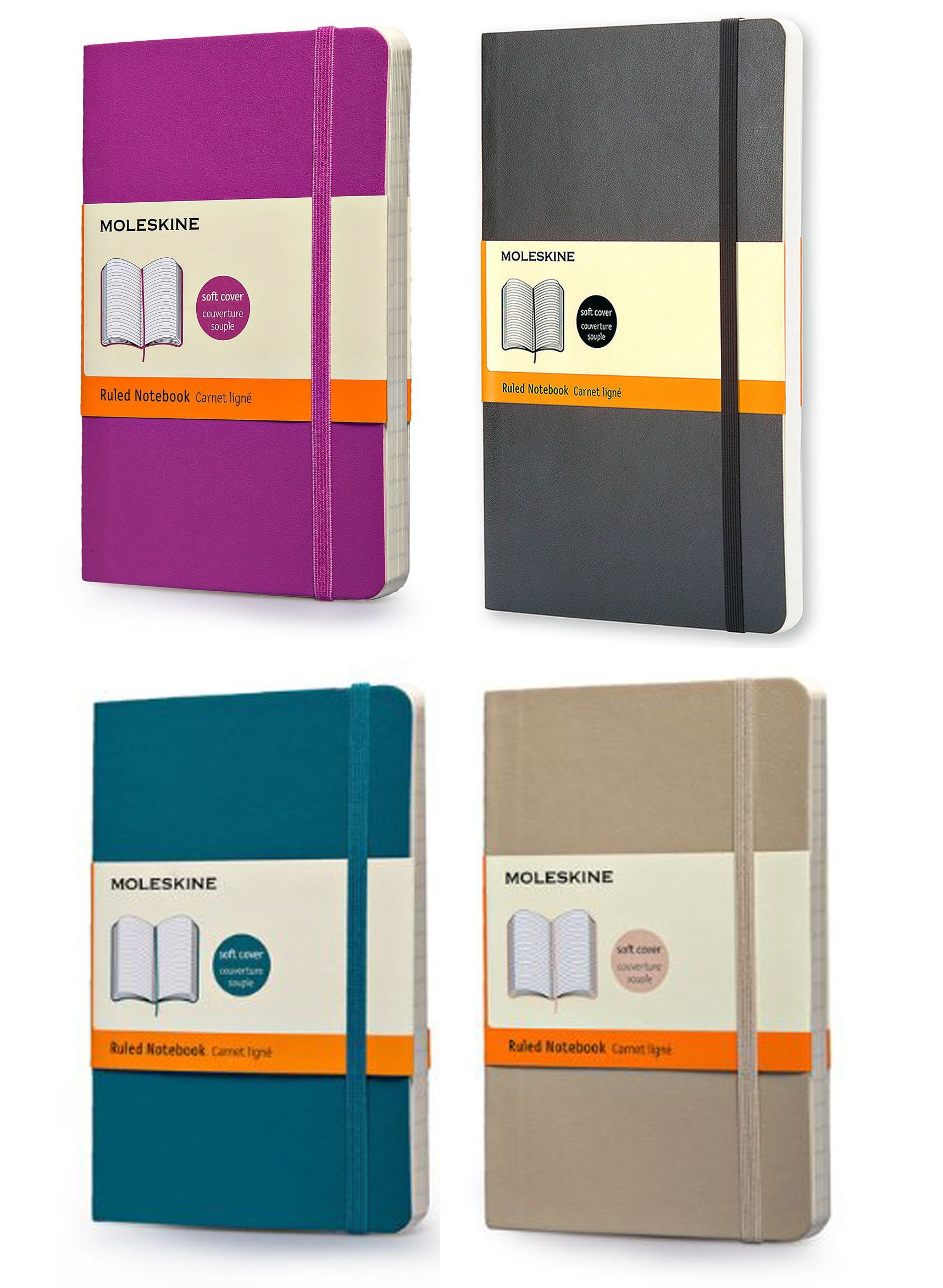 Pack of 4 Moleskine Classic Colored Notebook, Pocket, Ruled, Underwater Blue,Orchid Purple,Khaki Beige, Black, Soft Cover (3.5 x 5.5)