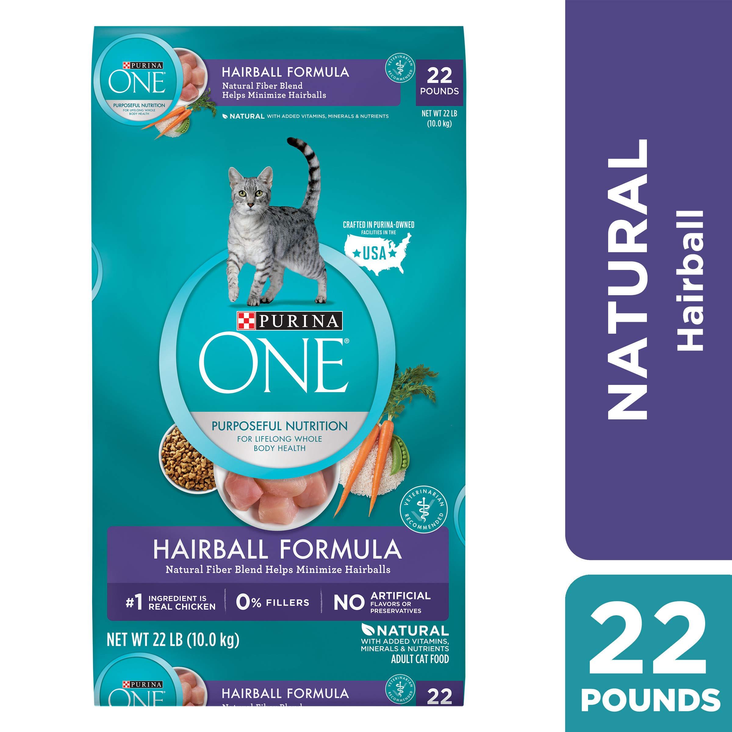 Purina ONE Hairball, Natural Dry Cat Food; Hairball Formula - 22 lb. Bag