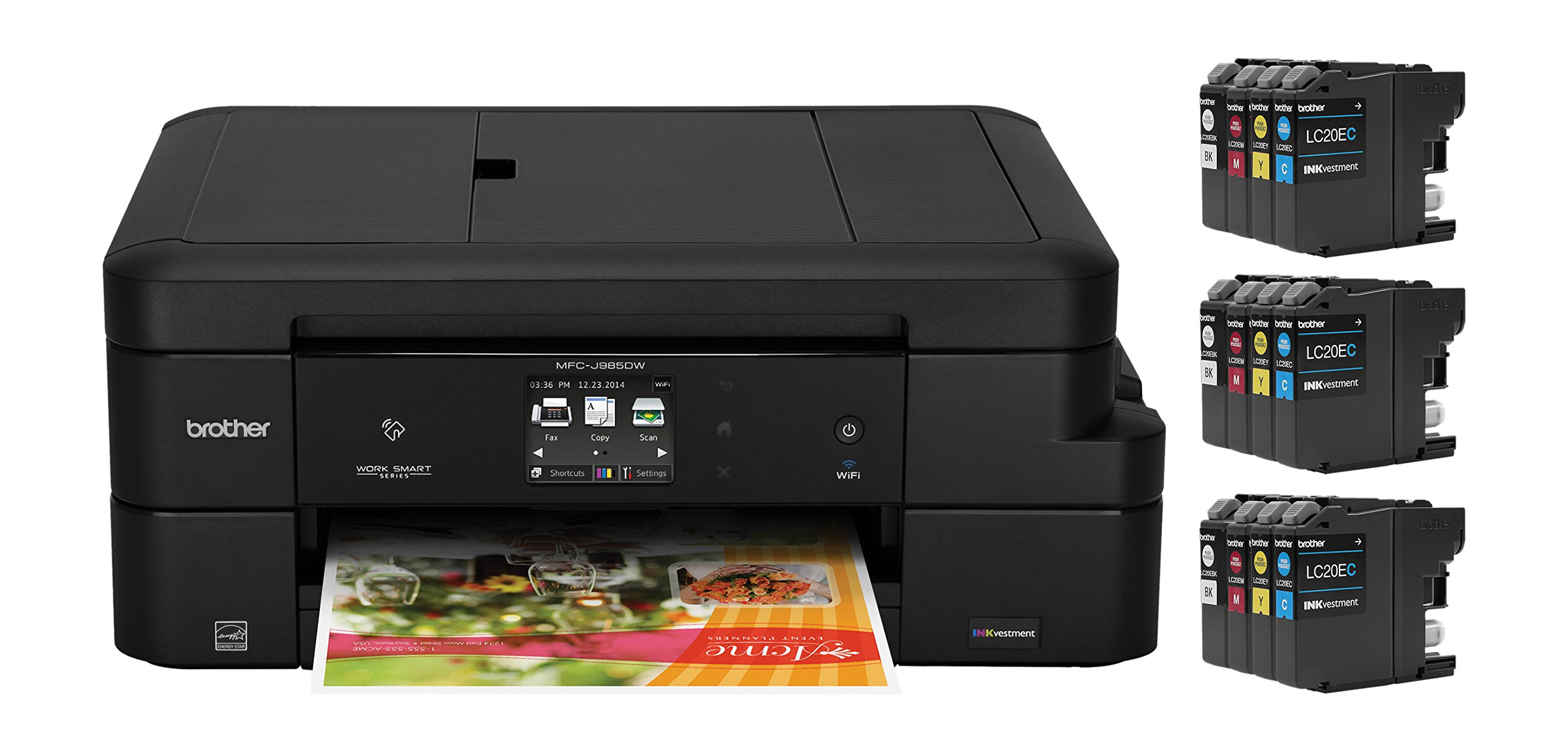 Brother MFC-J985DW XL Inkjet All-in-One Color Printer, Duplex and Wireless, Amazon Dash Replenishment Enabled,  2 Years of Ink Included