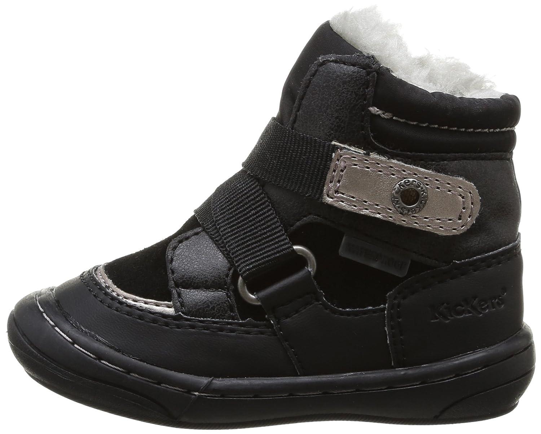 Kickers ZEDINON WPF - Zapatos primeros pasos de material sintético para niña, color negro, talla 20 EU (3.5 Baby UK)