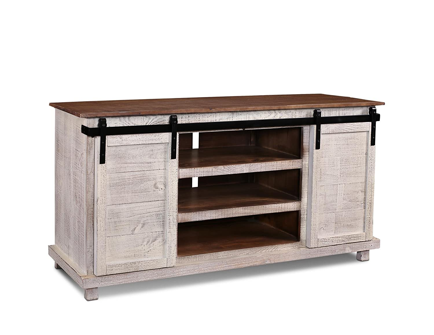 stand door greenview sliding door distressed white tv stand 60 inch crafters u0026. Black Bedroom Furniture Sets. Home Design Ideas
