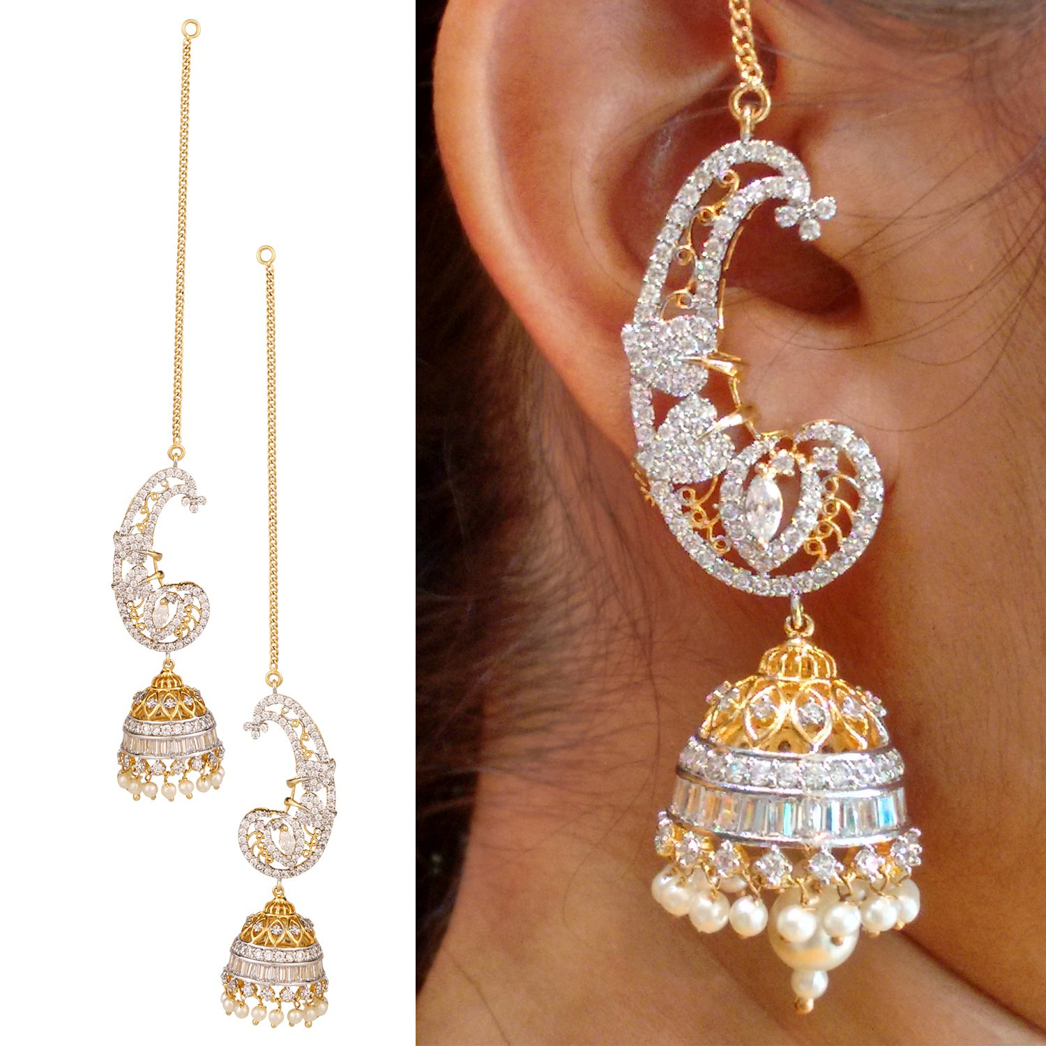 pink earrings plated flawless ad fashion american jhumka women diamond gold