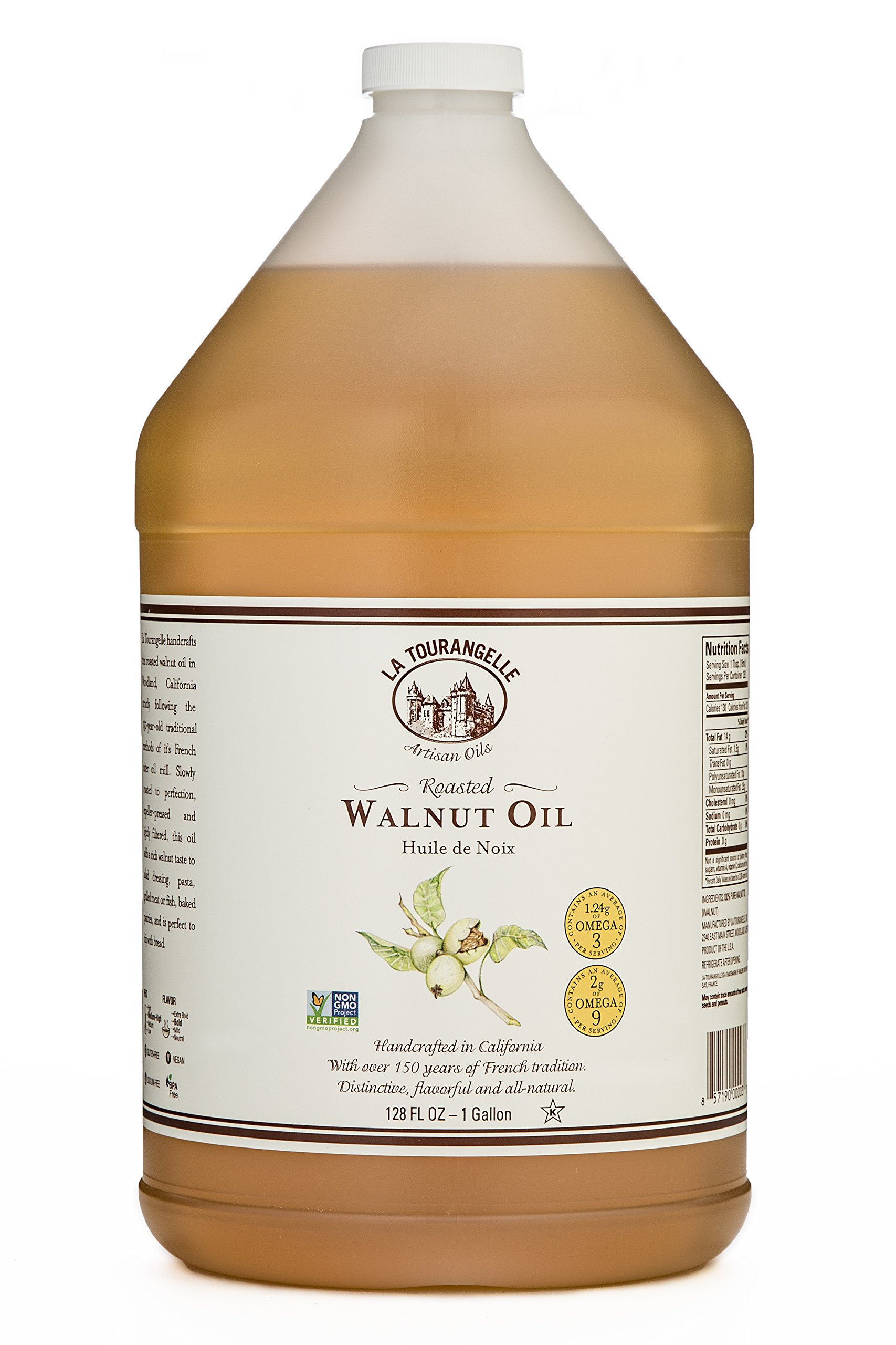 La Tourangelle Roasted Walnut Oil 128 Fl. Oz., All-Natural, Artisanal, Great for Salads, Marinades, Grilled Fish and Meat, or Pasta