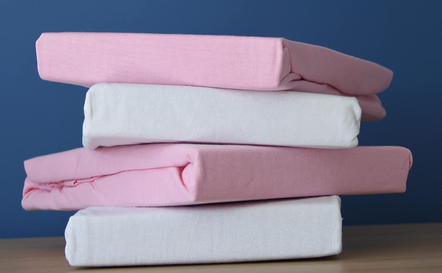 Dudu N Girlie Jersey Cotton Travel Cot Fitted Sheets, 2-Piece, White & Pink 1019WP