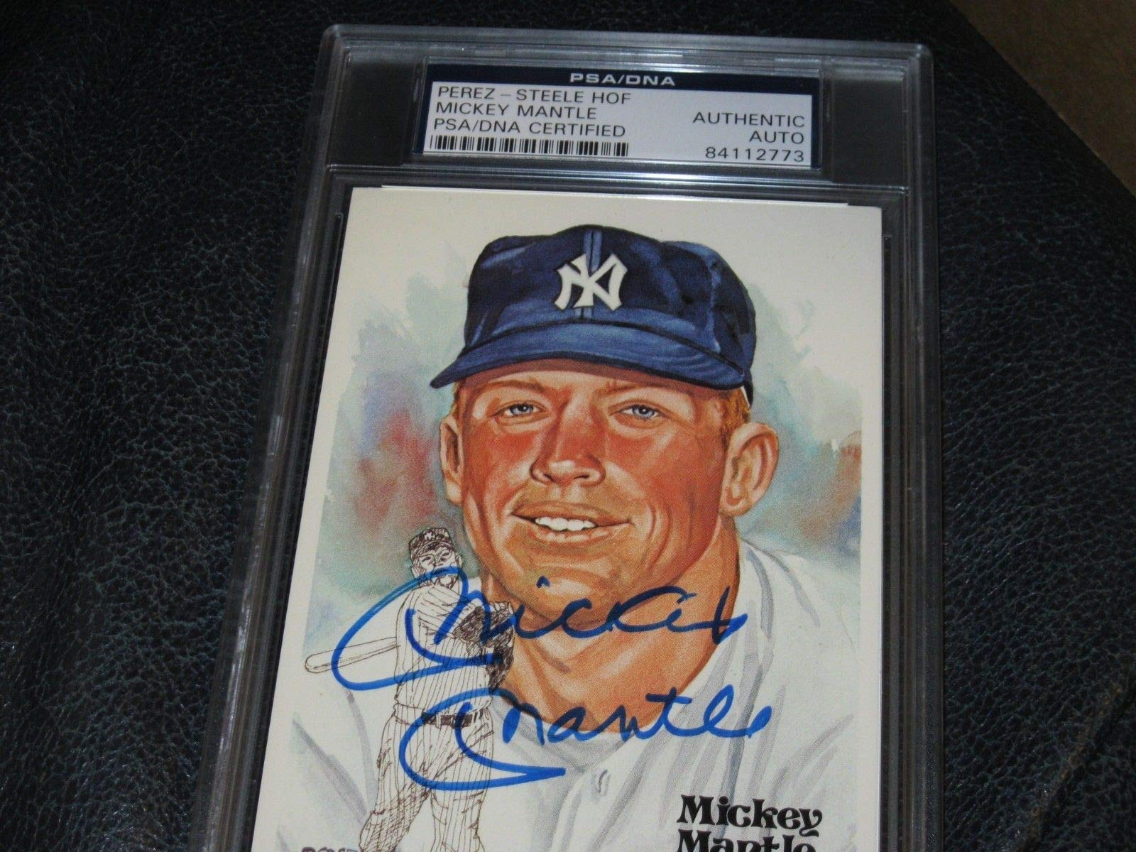 Mickey Mantle Autographed Signed Prez Steele Hof Postcard PSA/DNA Cert Encapsulated