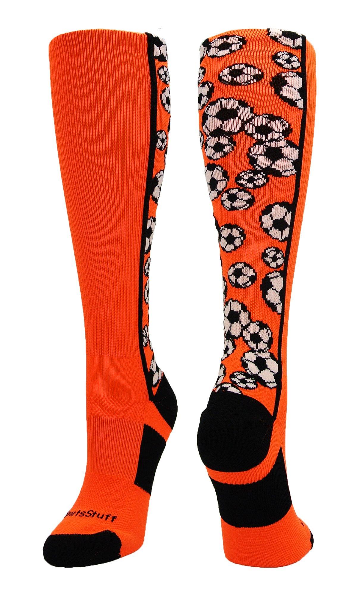 MadSportsStuff Crazy Soccer Socks with Soccer Balls Over The Calf (Neon Orange/Black, Medium) by MadSportsStuff