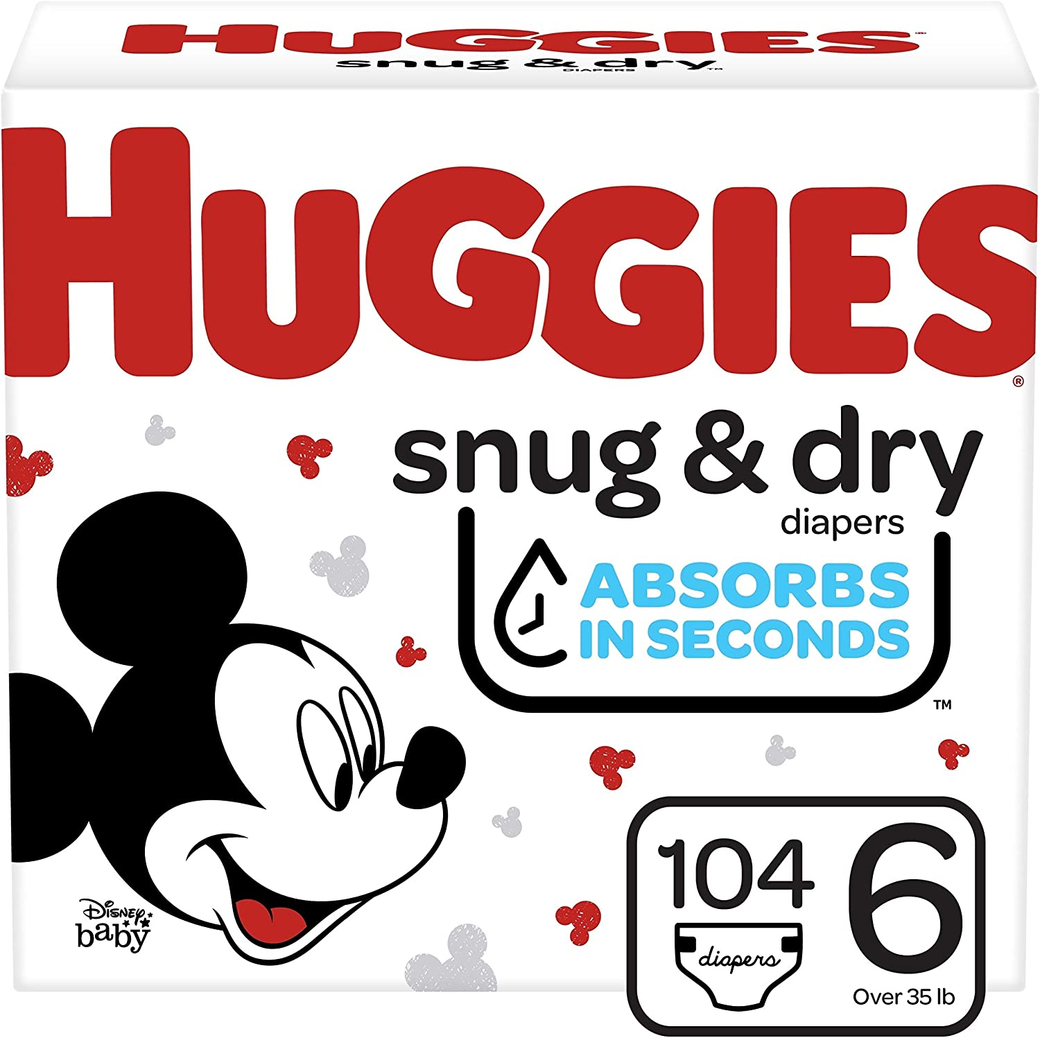 Huggies Snug & Dry Baby Diapers, Size 6, 104 Ct