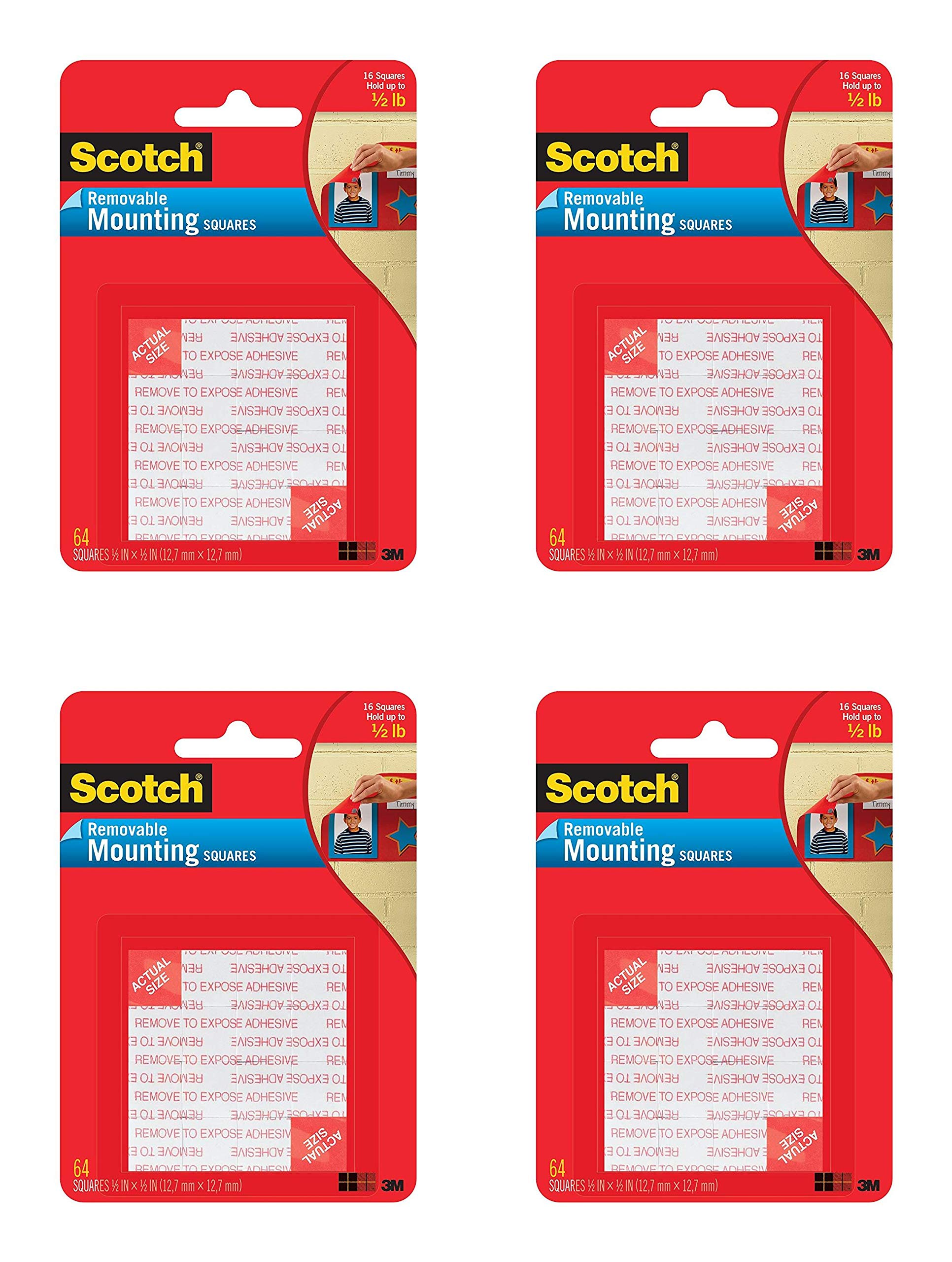 Scotch Mounting Squares, 1/2-inch x 1/2-inch, Black, 64-Squares (108-SML) Pack of 4 by Scotch Brand