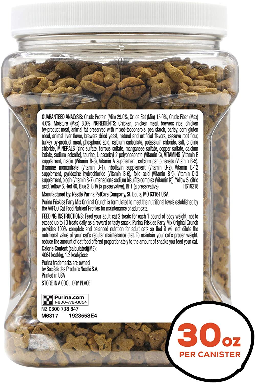 Purina Friskies Made in USA Facilities Cat Treats, Party Mix Original Crunch - 30 oz. Canister : Pet Supplies