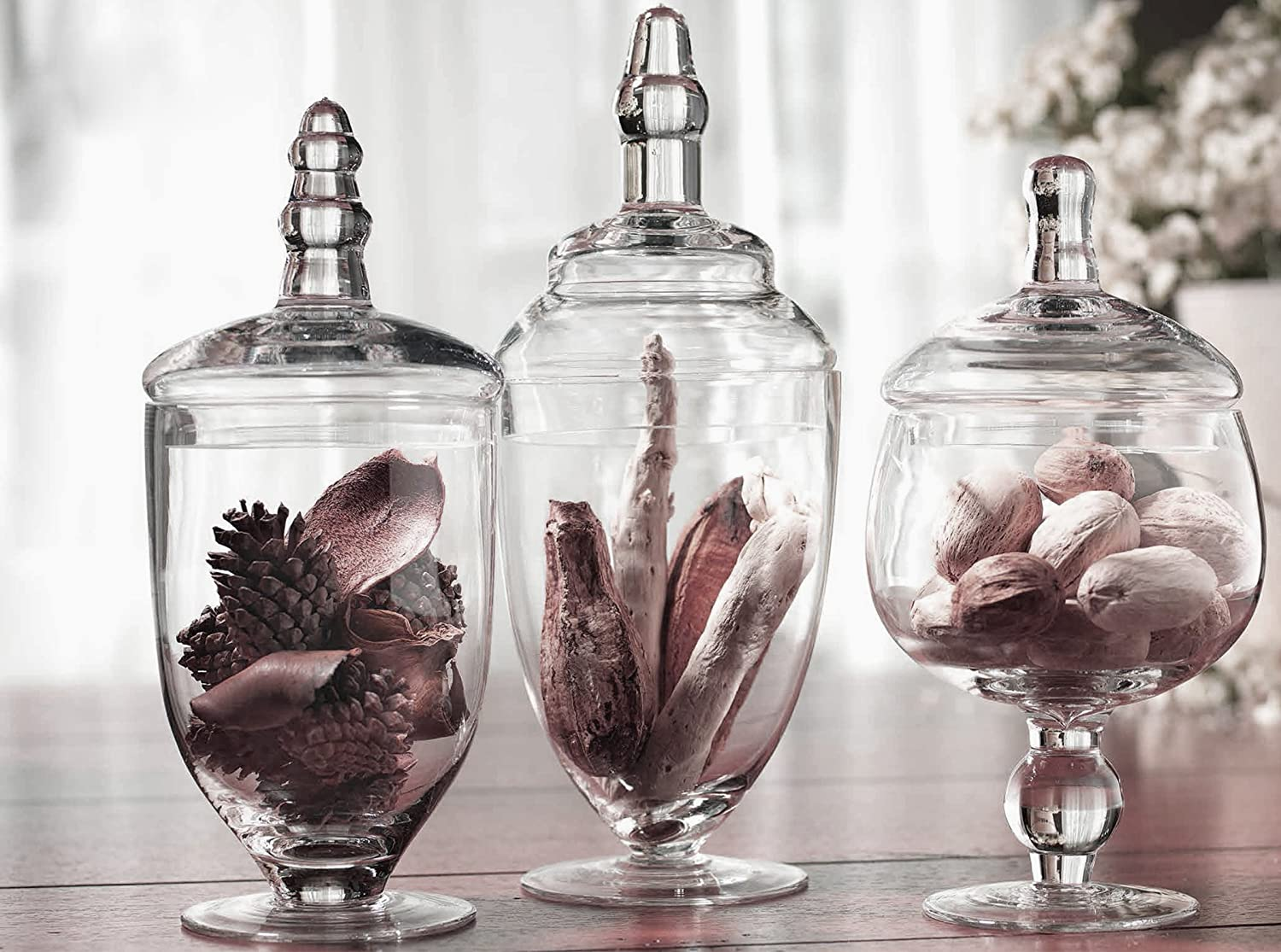 Amazon.com: Palais Glassware Clear Glass Apothecary Jars   Set Of 3    Wedding Candy Buffet Containers (Small, Clear): Home U0026 Kitchen